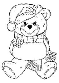 kleurplaat kerstbeer digital stamping christmas