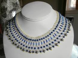 choker necklace blue images Blue bugle bead choker necklace gifted hands jpg