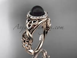 celtic engagement rings black pearl wedding rings gold celtic ring ctbp7300