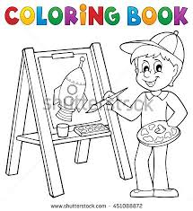 coloring book boy painting canvas stock vector 451088872