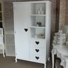 heart wardrobe white closet childrens wood girls bedroom furniture