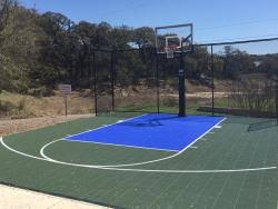 Half Court Basketball Dimensions For A Backyard by Backyard Basketball Court Builders Grand Slam Courts Satx