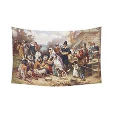 interestprint vintage the thanksgiving at plymouth tapestry