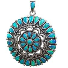 turquoise blue stone necklace images Handmade blue opal big pendant vy jewelry jpg