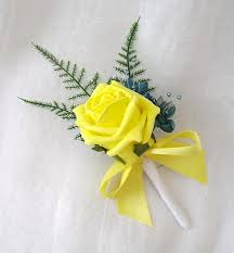 wedding flowers buttonholes x buttonholes in yellow and teal artificial wedding flowers