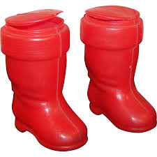 two plastic santa boot ornament containers from