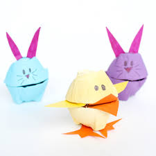 easter bunny candy and bunny easter candy holders made out of egg cartons