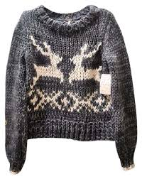 free grey and white deer sweater pullover size 2 xs tradesy