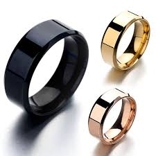 titanium rings images Smooth stainless steel black gold silver rose gold men women 39 s jpg