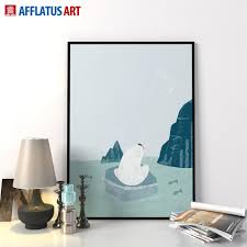 2017 modern nordic minimalist cartoon polar bear art prints poster