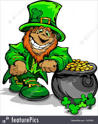 illustration of smiling st patrick u0027s day leprechaun with pot of gold