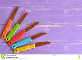 Colored Kitchen Knives Knives With Metal Blade And Plastic Handles Stock Photo Image