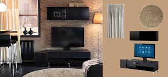 Black Tv Cabinet With Drawers Bestå Uppleva Black Brown Tv Bench And Wall Cabinet With Black