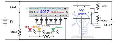 traffic light electronic project using ic 4017 555 timer