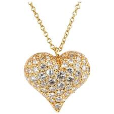 heart gold necklace diamonds images Tiffany and co 1 80 carat diamonds gold heart necklace at 1stdibs jpg
