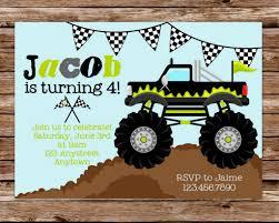 monster invitation monster truck birthday invitations cloveranddot com