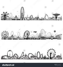 vector illustrationroller coaster silhouette carousel stock vector