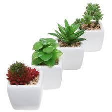 amazon com set of 4 small modern cube shaped white ceramic