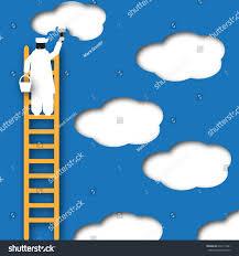 a painter painter paints clouds sky surreal paper stock illustration