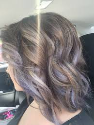 shag haircut brown hair with lavender grey streaks lavender ash with brown base very fun loving my hair my work