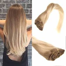 ombre hair extensions clip in clip in balayage golden brown to white remy human hair