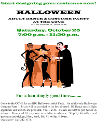 best music for halloween party adults only halloween costume party will be at the cove saturday