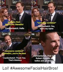 Cumberbatch Meme - ge sitange dos tar screams from rowd benedict cumberbatch hello