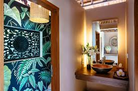 hot summer trend 25 dashing powder rooms with tropical flair bathrooms wallpaper brings topical flavor to the beautiful powder