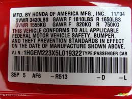 2005 civic color code r513 for rallye red photo 72719109