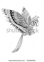 hand drawn artistically ornamental tribal parrot stock vector