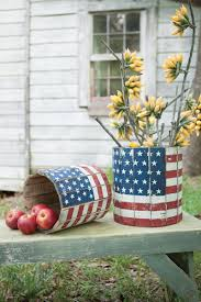 set of 2 round wooden planters american flag