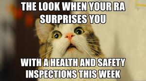 Health And Safety Meme - the look when your ra surprises you with a health and safety
