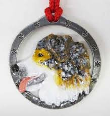 painted australian shepherd holiday ornament dp016or