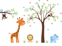 4 nursery wall decals animals nursery wall sticker decal animals baby wall decals nursery animal decals safari elephant