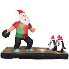 home accents holiday 10 5 ft inflatable santa bowling scene