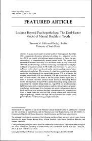 looking beyond psychopathology the dual factor model of mental