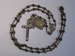 creed rosary scarce vintage bernadette photo booklet medal locket jasper