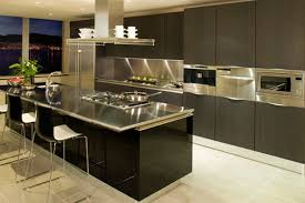 Steel Kitchen Cabinets Stainless Steel Kitchen Cabinet Ideas With Wooden Floor And Sink