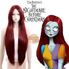 Sally Halloween Costume Adults Nightmare Christmas Sally Long Straight Dark Red Anime
