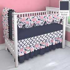 Navy And Coral Crib Bedding Navy And Coral Pink 3 Tier Nursery Idea Customizable Crib