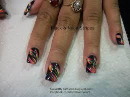 nail art by kathleen black nails with neon stripes fun nail art