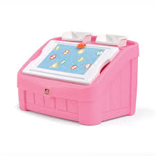 fisher price step 2 art desk 2 in 1 toy box art lid pink kids toy box step2