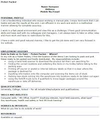 Resume Examples For Warehouse Position by Picker Packer Cv Example Icover Org Uk