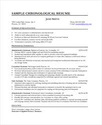 Sample Chronological Resume Template by Sample Resume 34 Documents In Pdf Word