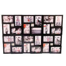 cadre photo pêle mêle mural coloris noir capacità 24 photos