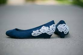 wedding shoes navy navy blue ballet flat low wedge wedding shoes with ivory lace