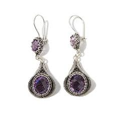 amethyst drop earrings ottoman silver jewelry collection 10 4ctw amethyst filigree drop