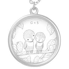 Custom Monogram Necklace Ink Drawing Love Birds Custom Monogram Necklace Zazzle Com