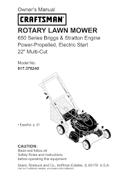 craftsman lawn mower 917 376240 user guide manualsonline com