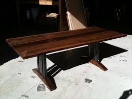 Walnut Live Edge Table by Hand Made Live Edge Walnut Dining Table Tressel Legs By Bdagitz